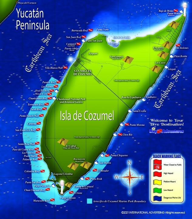 Isla Cozumel Reef Map