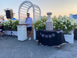 Ross Colton on Hotel LBI Rooftop with Stanley Cup