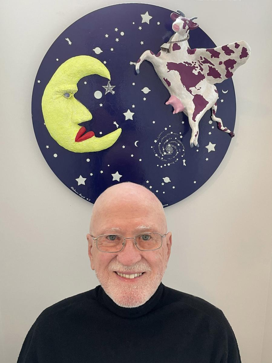 Author Borson with his wall-mounted sculpture.
