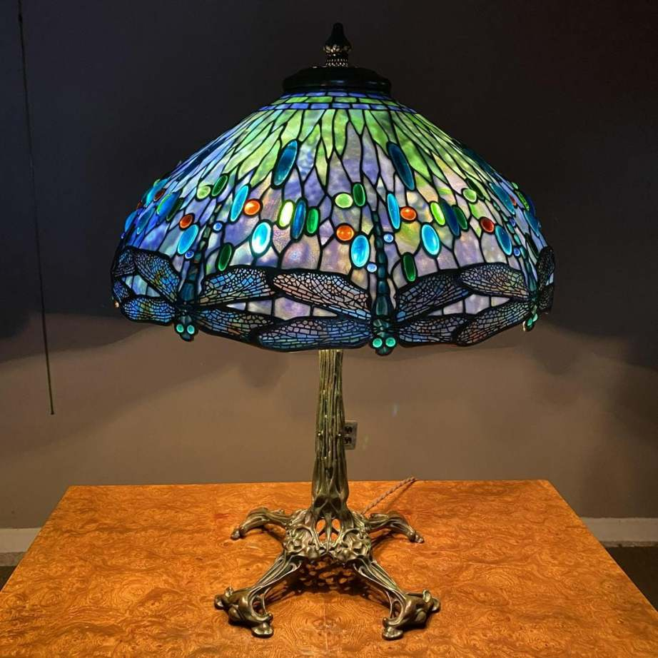 Tiffany Studios Dragonfly table lamp, 31 in. tall.