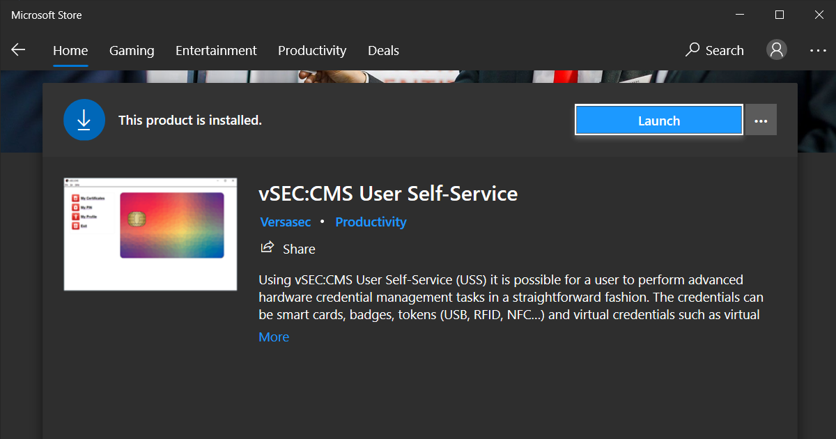 vSEC:CMS is available in the Microsoft Store