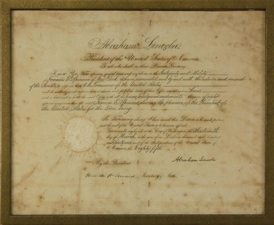 1861 document signed by President Abraham Lincoln.