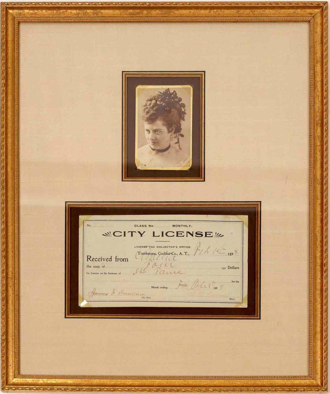 1898 Arizona prostitute license with photo, framed