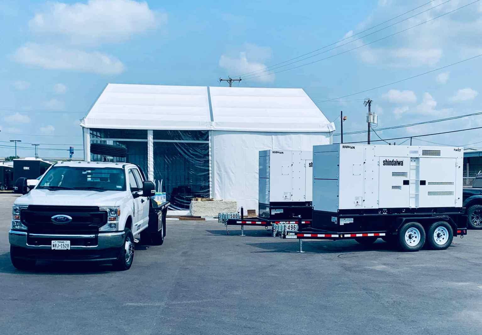 Shelter M-Series A-Frame Tent & Shindaiwa 180Kva