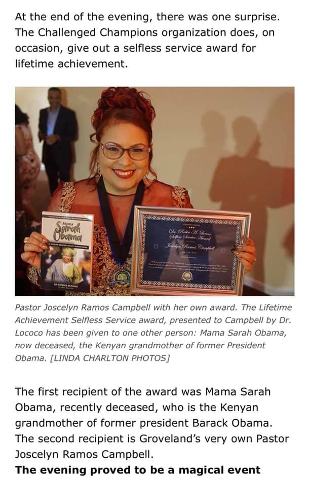 Pastor Joscelyn Ramos Campbell With Her Own Award