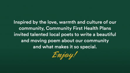 Community First Poet Video Welcome