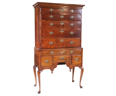 Queen Anne figured maple high chest of drawers.