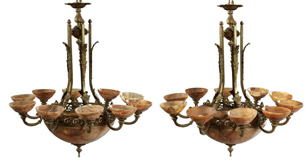 French bronze and alabaster 12-light chandeliers.