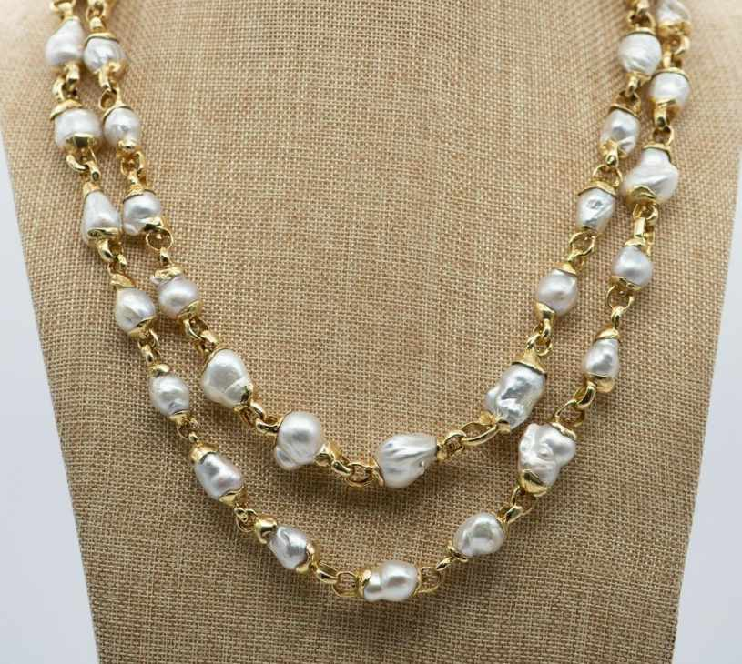 Elizabeth Gage pearl and gold necklace 55 in. long