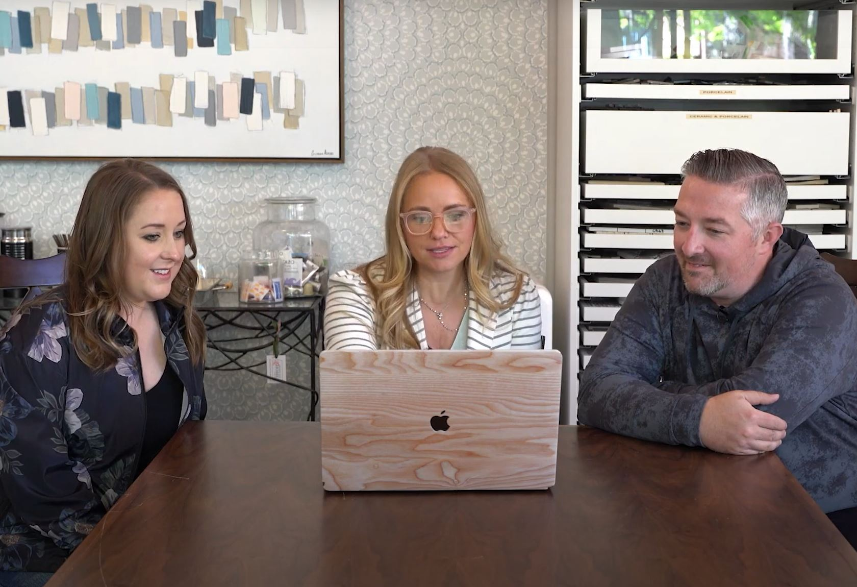 Tamara Day reviewing design ideas with the couple.