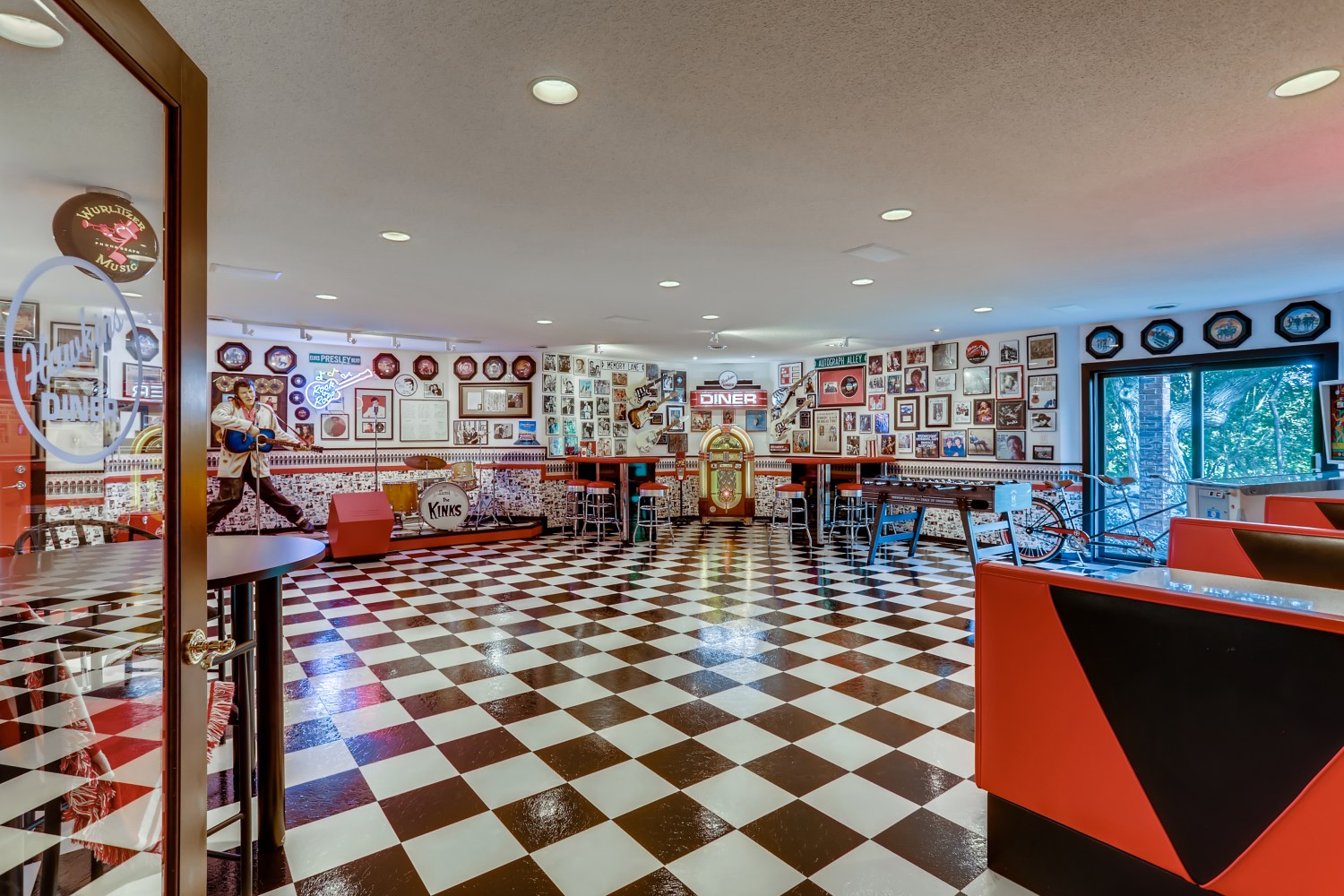 Diner with checkerboard floor