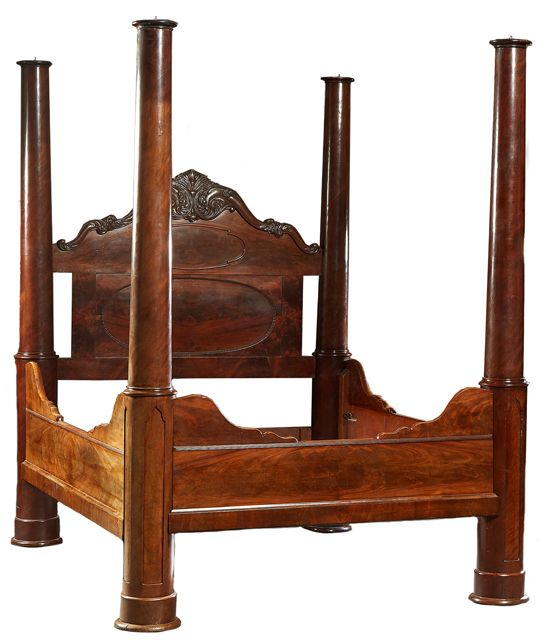 American rococo carved mahogany four-poster bed.