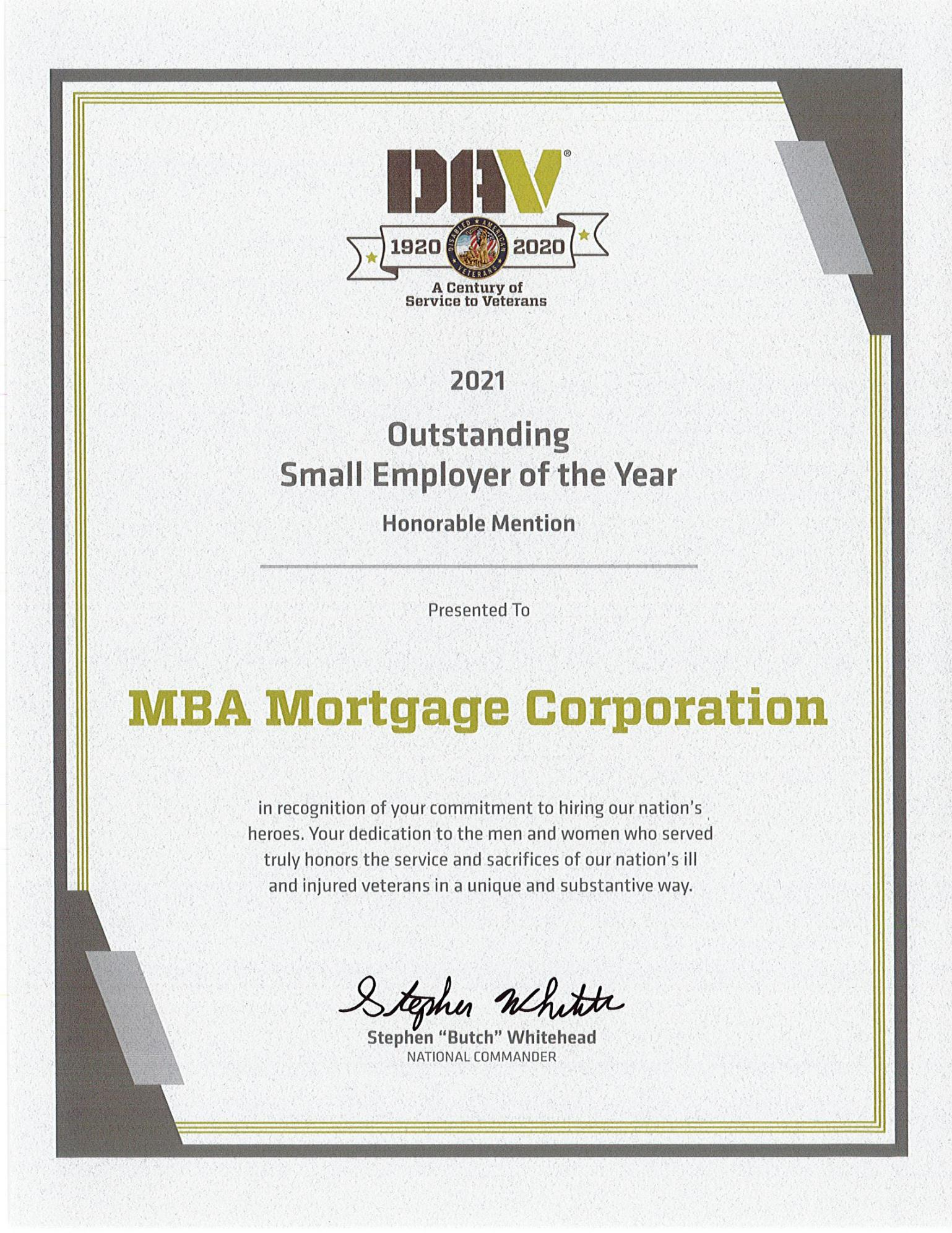 MBA Mortgage DAV Honorable Mention Award for 2021