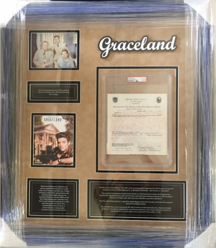 Custom-framed contract signed by Elvis Presley.